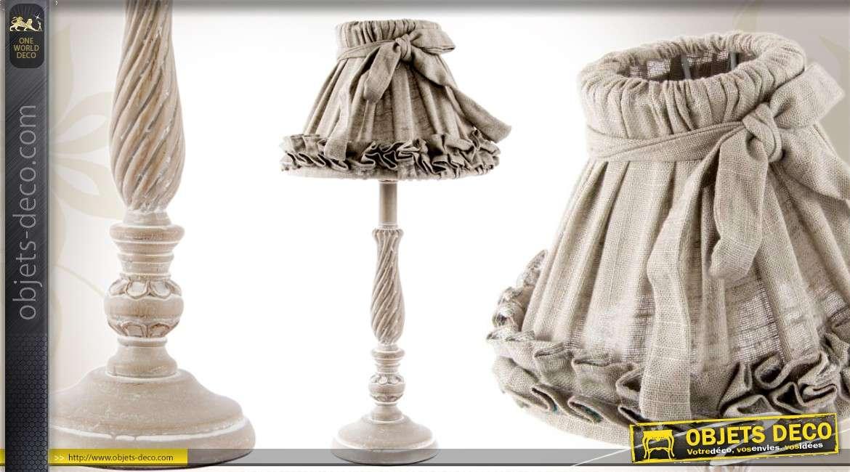lampe de chevet tissu pliss et ruban avec pied en r sine 42 cm. Black Bedroom Furniture Sets. Home Design Ideas