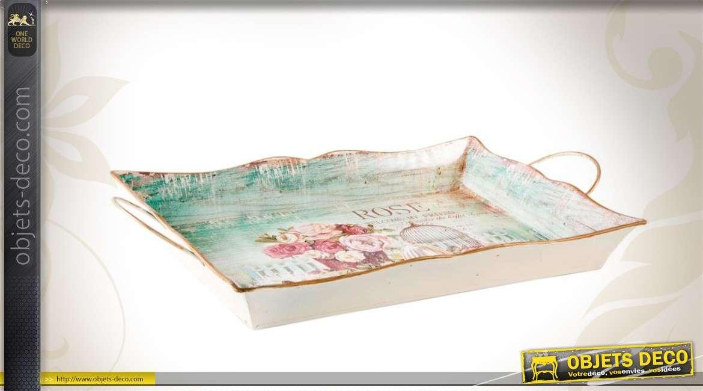 Plateau en métal de style romantique à décor fleuri 43 cm