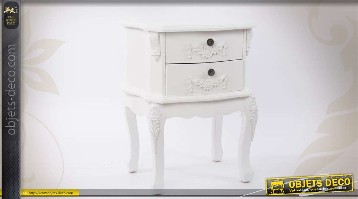 table de chevet blanche romantique. Black Bedroom Furniture Sets. Home Design Ideas