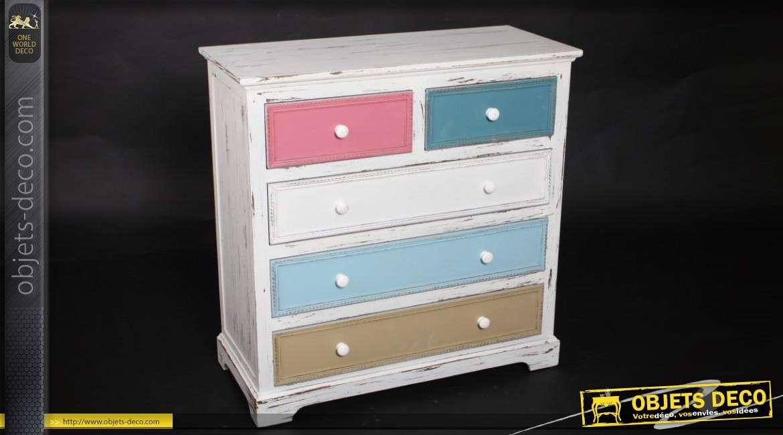 commode blanche en bois 5 tiroirs couloris vari s. Black Bedroom Furniture Sets. Home Design Ideas
