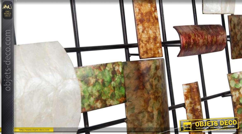 grande d coration murale moderne effet m tal et nacre 91 cm. Black Bedroom Furniture Sets. Home Design Ideas