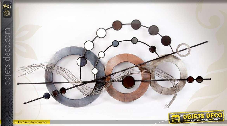 Deco Murale Abstraite Metal Motifs Geometriques Et Miroirs 110 Cm
