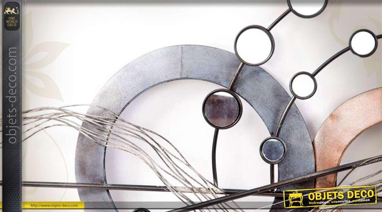 D co murale abstraite m tal motifs g om triques et miroirs for Miroir 110 50