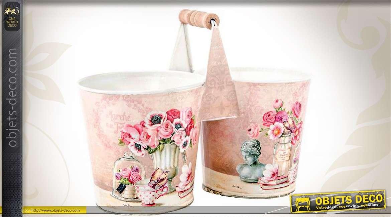 Double cache pot avec poign e en bois motifs de fleurs roses - Deco printempsidees avec fleurs et motif floral ...