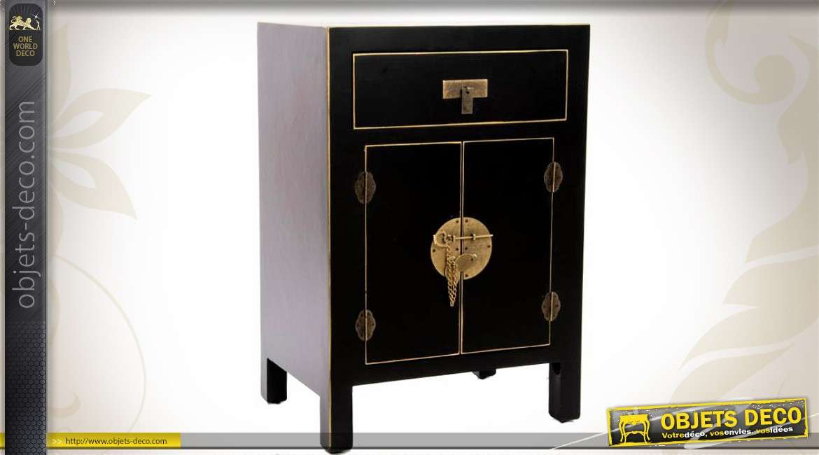table de nuit de style japonais coloris noir et or. Black Bedroom Furniture Sets. Home Design Ideas
