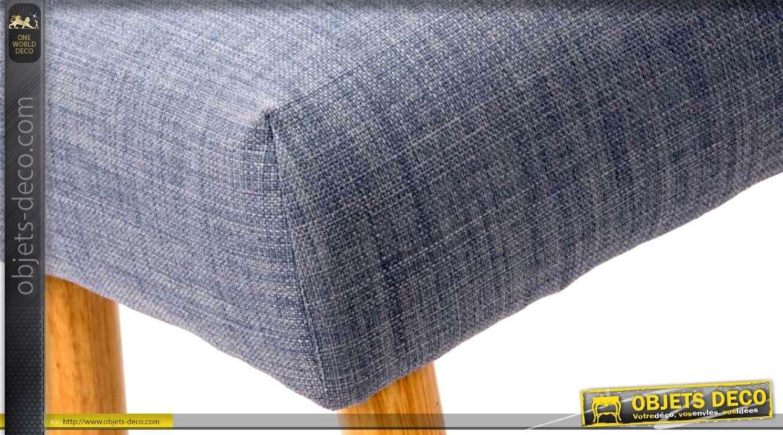 bout de lit vintage pieds fusel s et habillage tissu bleu. Black Bedroom Furniture Sets. Home Design Ideas