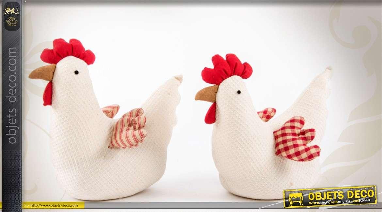 S rie de 2 poules cale portes en tissu gaufr style for Decoration de porte en tissu