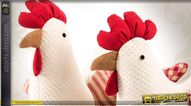 s rie de 2 poules cale portes en tissu gaufr style campagne chic. Black Bedroom Furniture Sets. Home Design Ideas