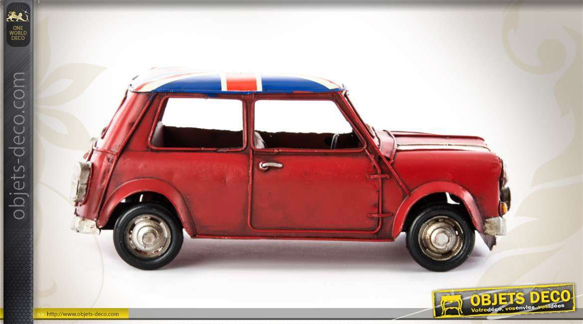 voiture de d coration mini austin de rallye avec toit union jack. Black Bedroom Furniture Sets. Home Design Ideas