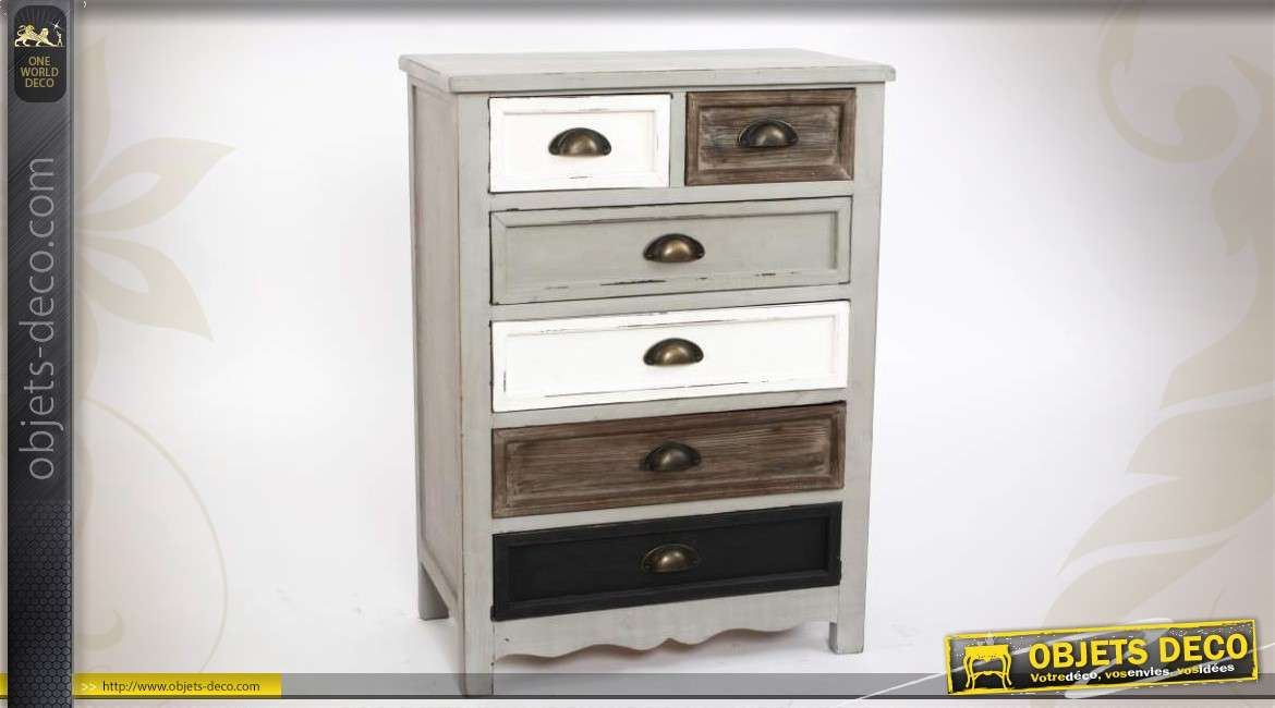 commode en bois 6 tiroirs patine vieillie. Black Bedroom Furniture Sets. Home Design Ideas