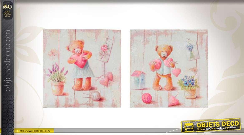 duo de tableaux pour chambre d 39 enfant motifs ours. Black Bedroom Furniture Sets. Home Design Ideas