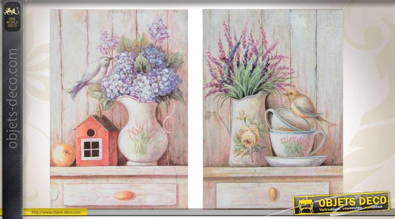 s rie de 2 tableaux th me r tro et romantique bouquets de fleurs. Black Bedroom Furniture Sets. Home Design Ideas