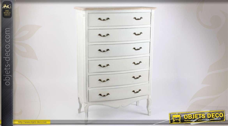 commode en bois patine blanche vieillie de style classique. Black Bedroom Furniture Sets. Home Design Ideas