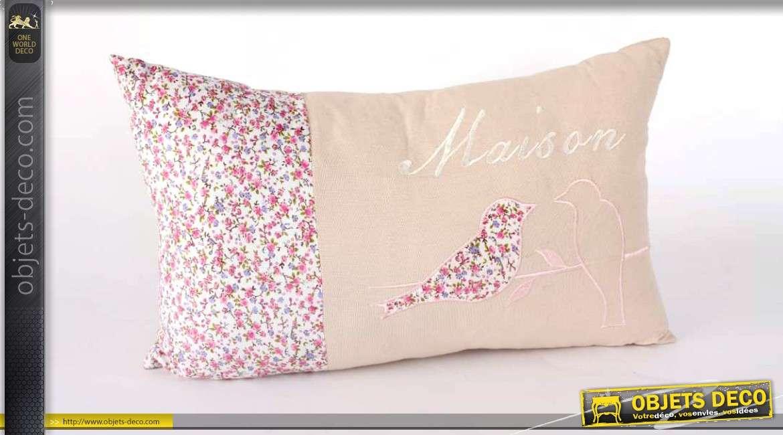 coussin lin et coton style cosy motifs de fleurs et d 39 oiseau. Black Bedroom Furniture Sets. Home Design Ideas