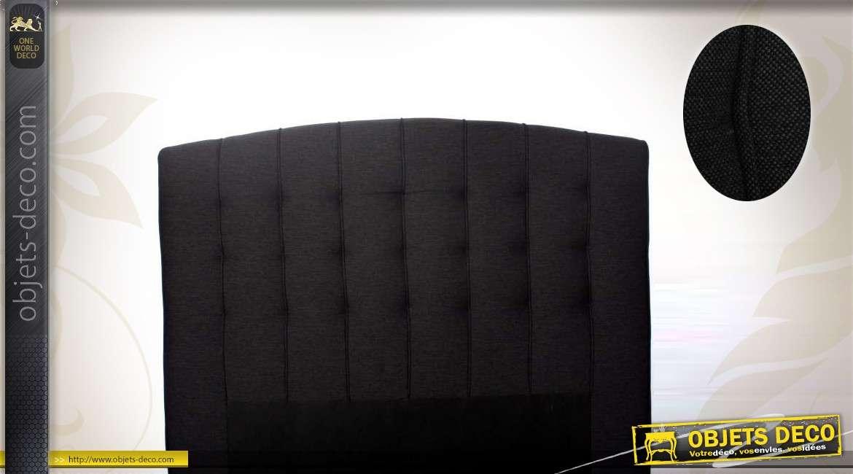 t te de lit 2 places en polyester et lin coloris gris anthracite. Black Bedroom Furniture Sets. Home Design Ideas