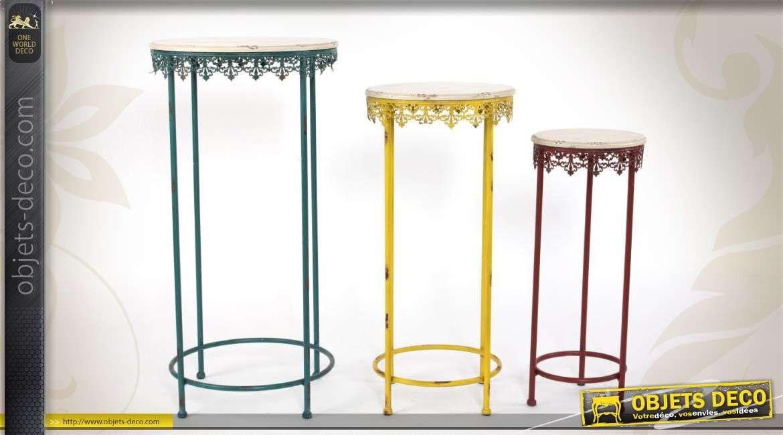 Ensemble tricolore de 3 sellettes en métal et en bois