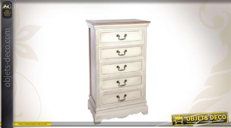 Chiffonnier blanc antique 5 tiroirs de style campagne chic - Chiffonnier blanc 5 tiroirs ...