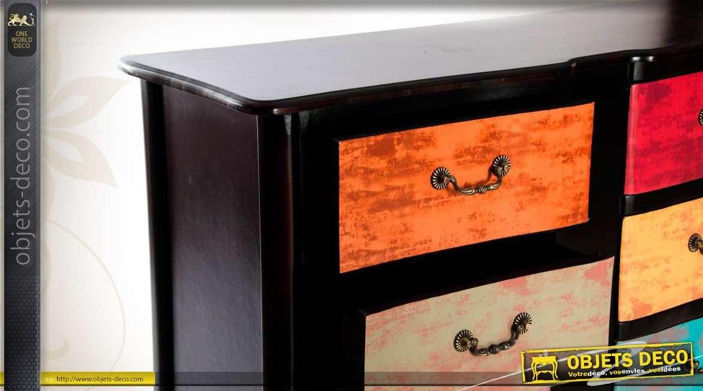 commode arantxa noire avec 6 tiroirs patine multicolore. Black Bedroom Furniture Sets. Home Design Ideas