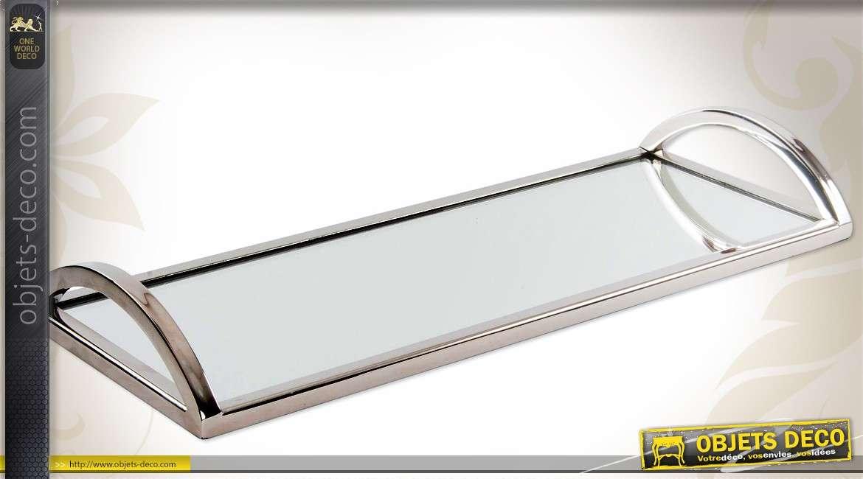 Long plateau design en verre et m tal argent 40 cm for Miroir en long