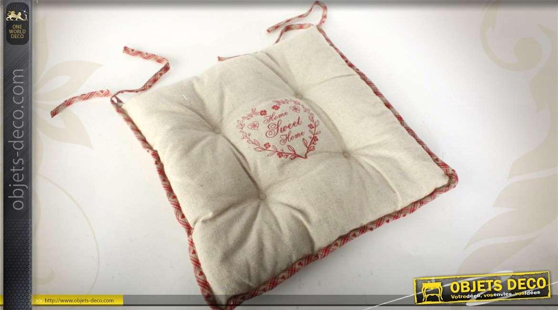coussin de chaise en coton et lin rembourr et capitonn. Black Bedroom Furniture Sets. Home Design Ideas
