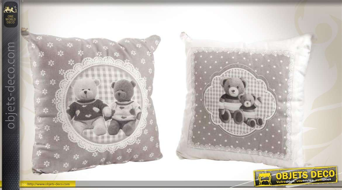 2 coussins gris et blanc avec motifs de nounours 35 x 35 cm. Black Bedroom Furniture Sets. Home Design Ideas