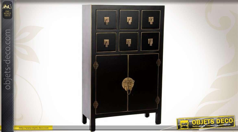 Cabinet style japonais 6 tiroirs 2 portes noir et laiton for Armoire penderie style japonais