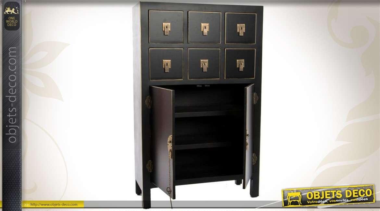 Cabinet style japonais 6 tiroirs 2 portes noir et laiton for Armoire style japonais