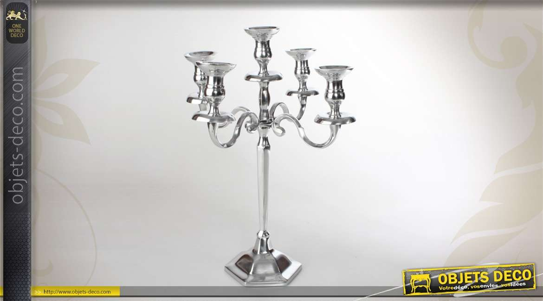 chandelier argent 5 branches en aluminium. Black Bedroom Furniture Sets. Home Design Ideas