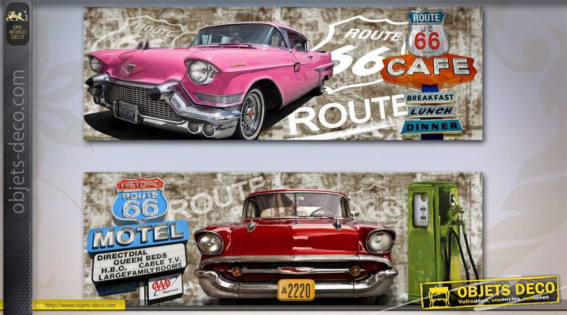duo de grands tableaux route 66 us et voitures vintage. Black Bedroom Furniture Sets. Home Design Ideas