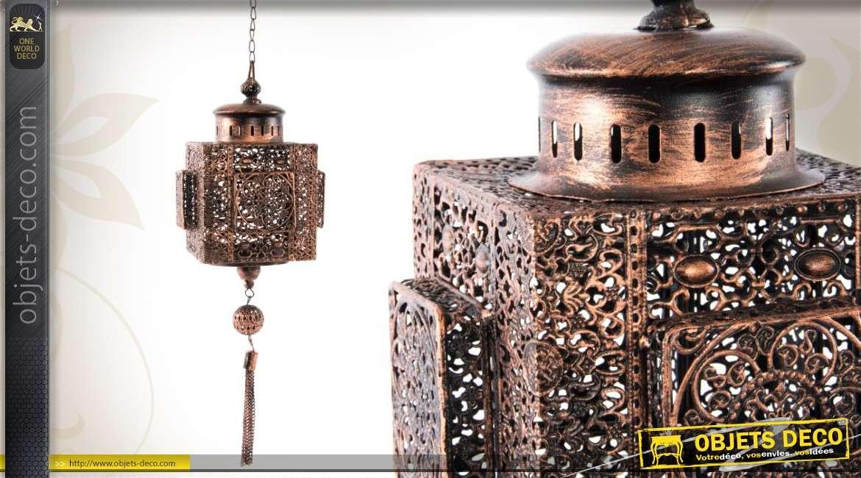 lanterne suspendue orientale en m tal ajour finition cuivr e. Black Bedroom Furniture Sets. Home Design Ideas