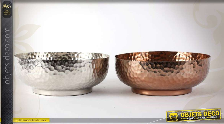 Deux coupes en aluminium rendu argent et cuivre martel - Miroir argent martele ...