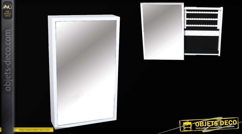 Miroir rectangulaire blanc range bijoux en bois
