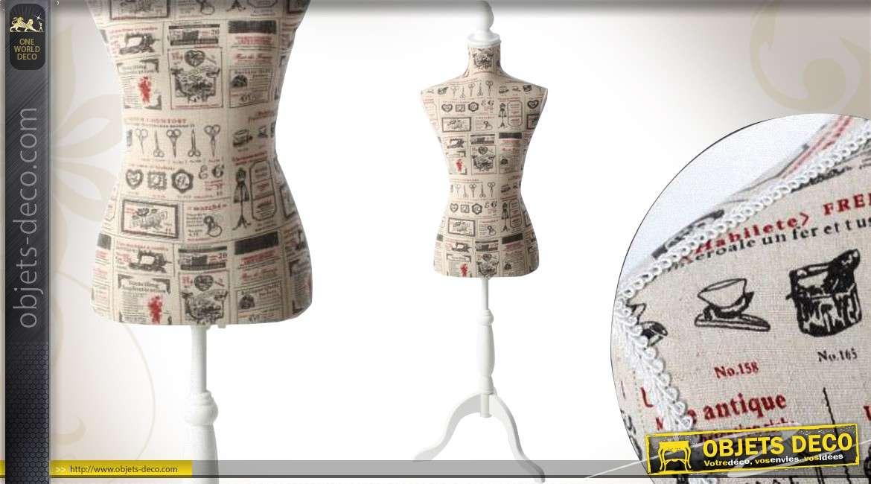 mannequin de couture bois et tissu style r tro motifs anciens. Black Bedroom Furniture Sets. Home Design Ideas