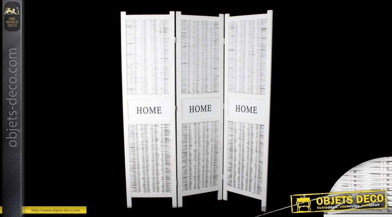 paravent blanc en osier 3 volets. Black Bedroom Furniture Sets. Home Design Ideas