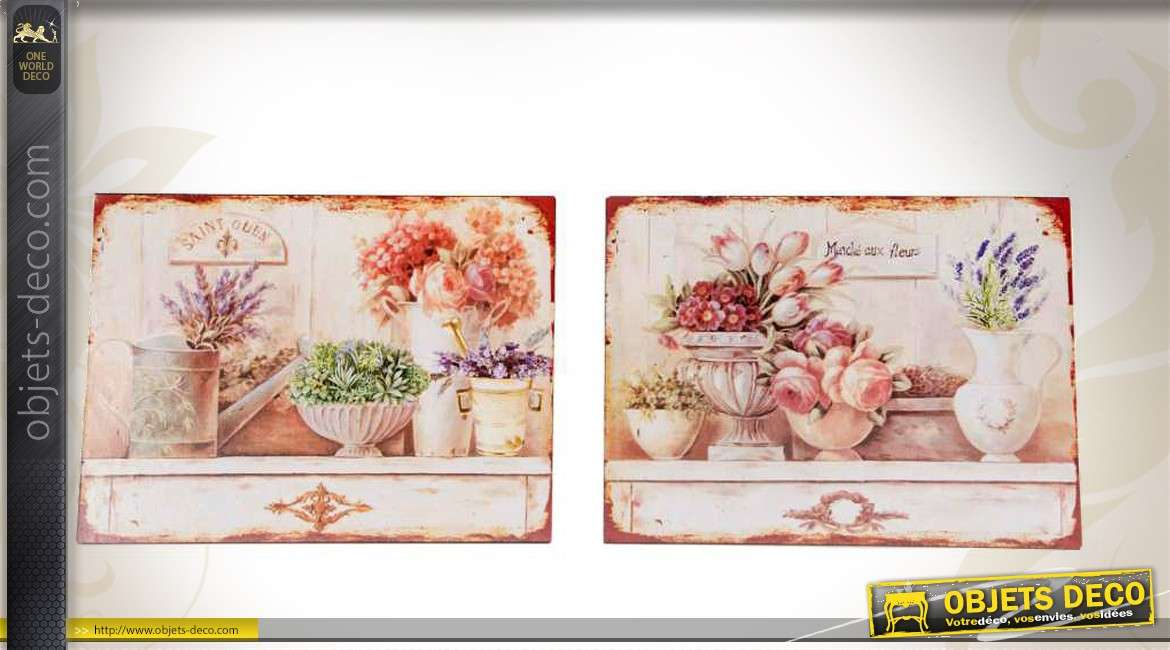 2 plaques murale en m tal motif de fleurs et pots anciens. Black Bedroom Furniture Sets. Home Design Ideas