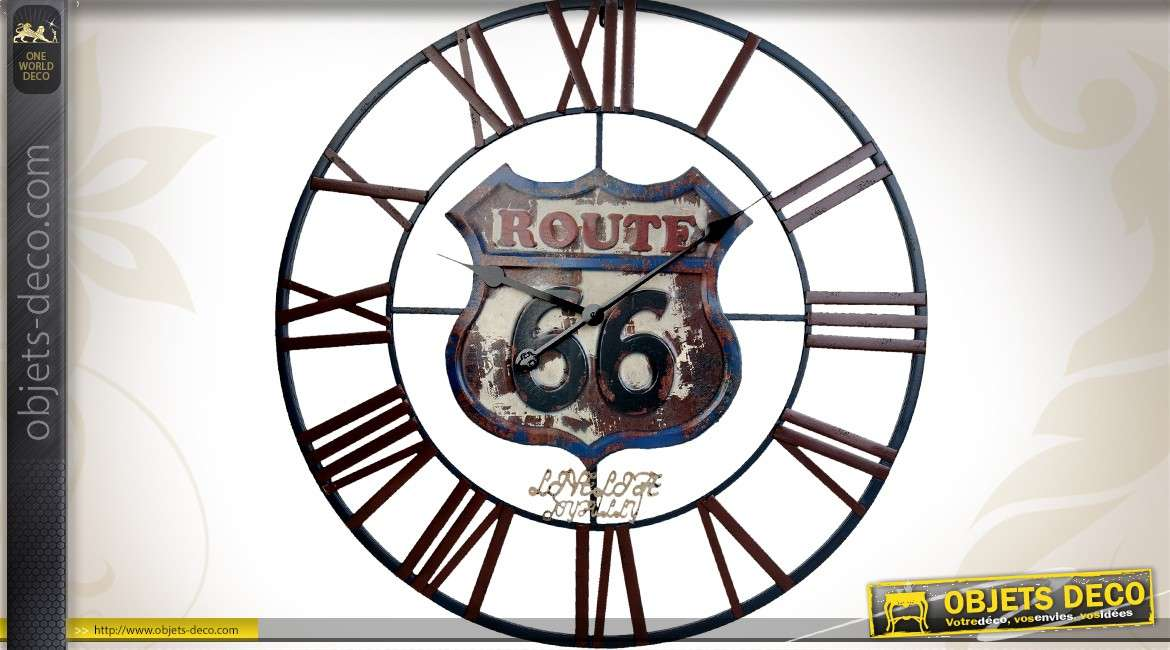 horloge murale g ante en m tal route 66 us 70 cm. Black Bedroom Furniture Sets. Home Design Ideas