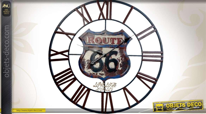 Horloge murale g ante en m tal route 66 us 70 cm for Horloge geante murale