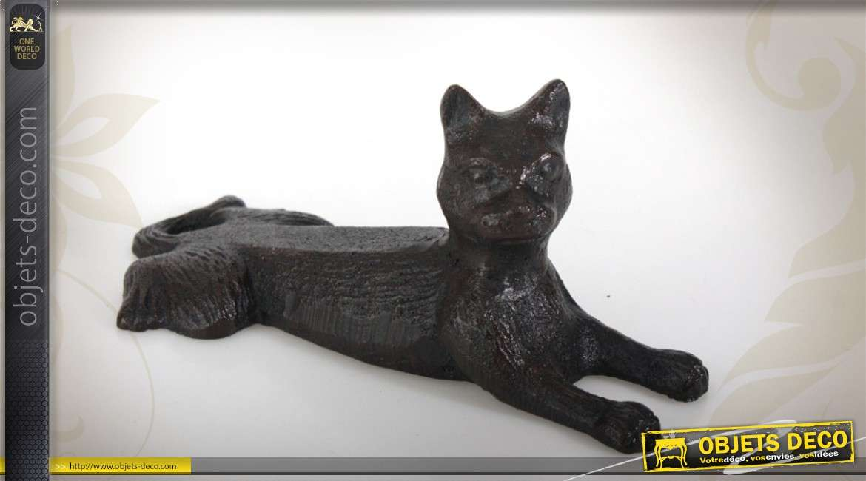 Bloque porte biseaut en fonte coloris noir forme de chat Boudins de portes