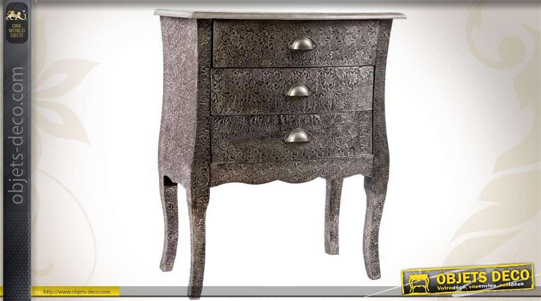 Commode de style oriental à 3 tiroirs métal embossé noir et zinc