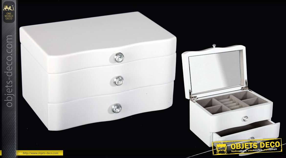 coffret bijoux en bois laqu blanc avec miroir. Black Bedroom Furniture Sets. Home Design Ideas