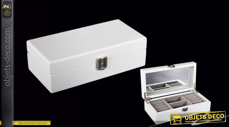 bo te bijoux compartiment e en bois laqu blanc avec miroir. Black Bedroom Furniture Sets. Home Design Ideas