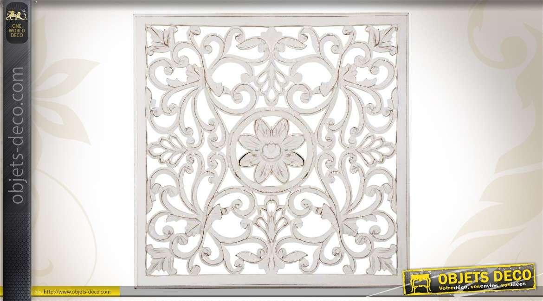d coration murale en bois avec motifs floraux. Black Bedroom Furniture Sets. Home Design Ideas