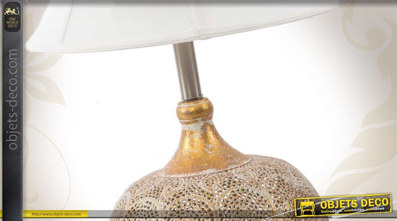 Abat Jour Métal Ajouré lampe de table abat-jour blanc pied métal ajouré motifs ethniques