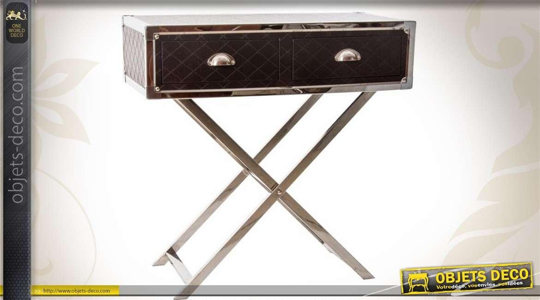 Console design inox poli et similicuir avec 2 tiroirs for Console design avec tiroir