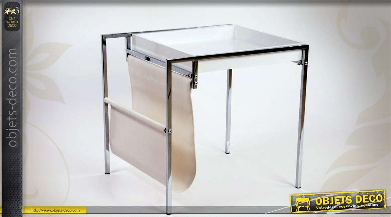 table basse porte revue en m tal argent avec plateau blanc. Black Bedroom Furniture Sets. Home Design Ideas