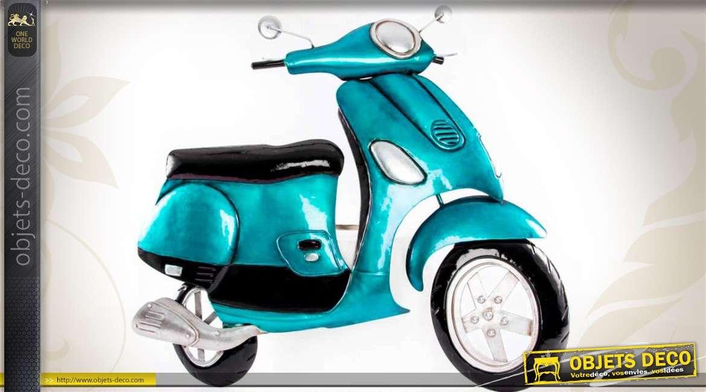 D co murale forme scooter r tro coloris bleu m tallis 69 cm for Vespa decoration
