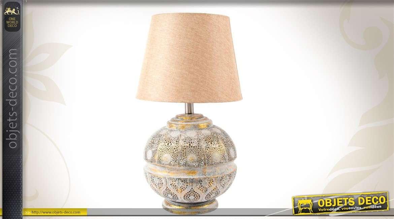 Abat Jour Métal Ajouré lampe de table abat-jour beige et pied métal ajouré doré vieilli