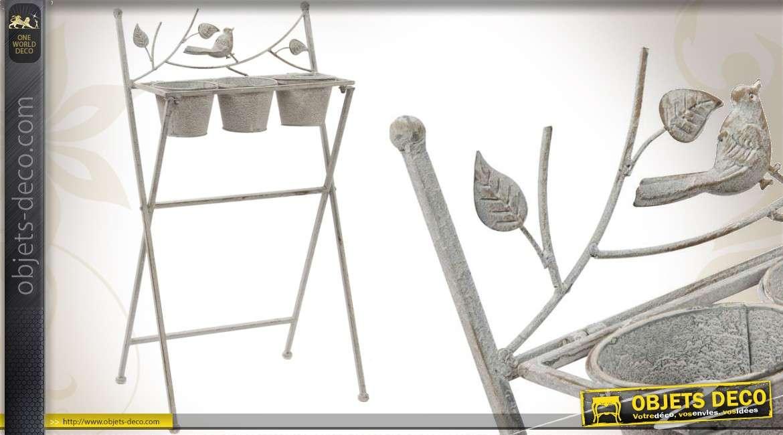 Jardinière sur pied 3 pots gris antique style fer forgé 71 cm