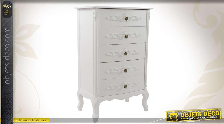 commode en bois 5 tiroirs de style romantique coloris blanc. Black Bedroom Furniture Sets. Home Design Ideas