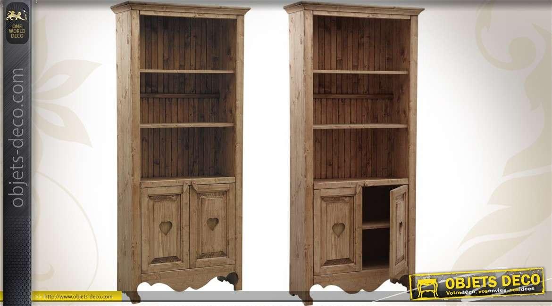 Bibliothèque en bois 100 % massif d'épicéa ciré miel 196 cm